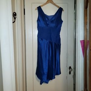 100% silk Donna Ricco Royal Blue tango dress Sz 8